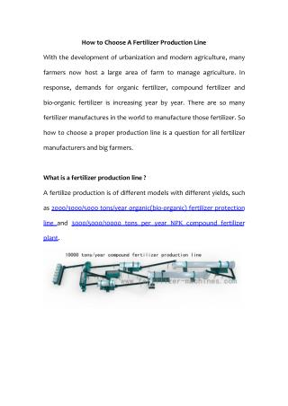 Key Factors In Choosing A Fertilizer Production Line