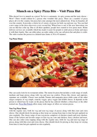 Munch on a Spicy Pizza Bite – Visit Pizza Hut