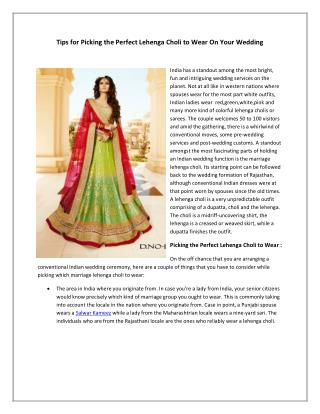 Tips for picking the perfect lehenga choli to wear on your wedding