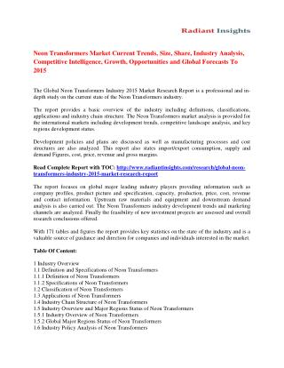Neon Transformers Market Size, Share, Analysis And Forecasts To 2015
