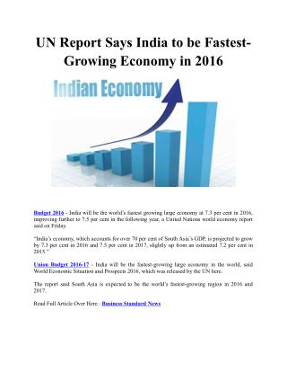 UN Report Says India to be Fastest-Growing Economy in 2016