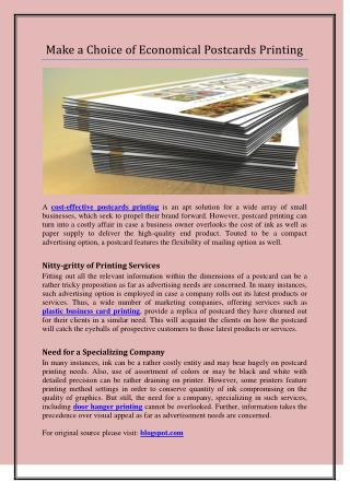Make a Choice of Economical Postcards Printing