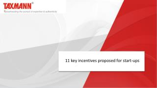 11 key incentives proposed for start-ups