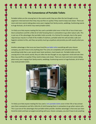 The Convenience of Portable Toilets