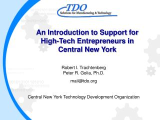 An Introduction to Support for High-Tech Entrepreneurs in Central New York