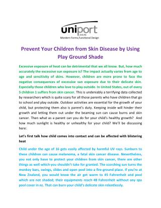 Prevent Your Children from Skin Disease by Using Play Ground Shade
