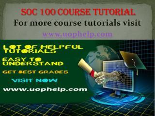 SOC 100 Academic Coach / uophelp