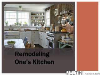 Remodeling One's Kitchen