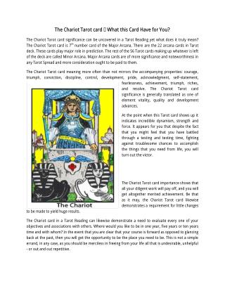 Know Chariot by Tarot Card Reader in Reading Courses