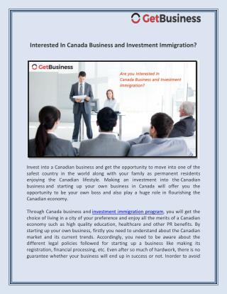 Interested In Canada Business and Investment Immigration