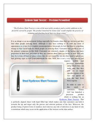 Eyebrow Slant Tweezer – Precision Personified!