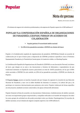 Popular firma un nuevo acuerdo con CEOPAN