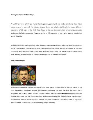 Know your Stars with Rajat Nayar
