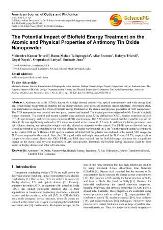 Biofield Treatment   Impact on Antimony Tin Oxide Nanopowder