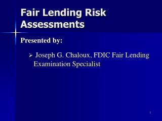 Fair Lending Risk Assessments