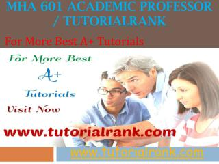 MHA 601 Academic professor / tutorialrank.com