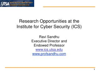 Research Opportunities at the Institute for Cyber Security (ICS) Ravi Sandhu