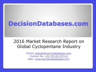 Global Cyclopentane Industry Sales and Revenue Forecast 2016