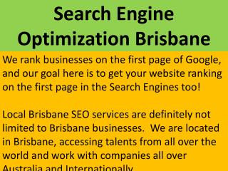 Search Engine Optimization Brisbane