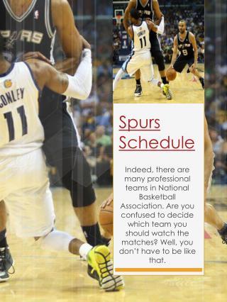 Spurs Schedule