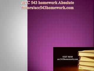 ACC 543 homework Absolute Tutors/acc543homework.com
