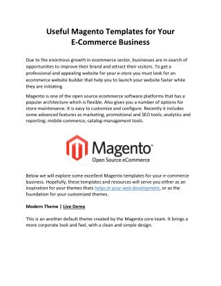 Useful Magento Templates for Your E-Commerce Business