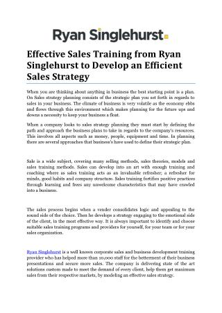 Effective Sales Training from Ryan Singlehurst for Sales Strategy