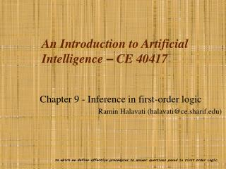 An Introduction to Artificial Intelligence  –  CE 40417