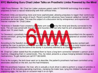 NYC Marketing Guru Chad Lieber Talks on Prosthetic Limbs Powered by the Mind