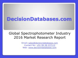 Global Spectrophotometer Market 2016:Industry Trends and Analysis