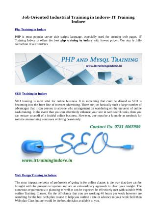 Industrial Training in PHP, Java, SEO and Web design
