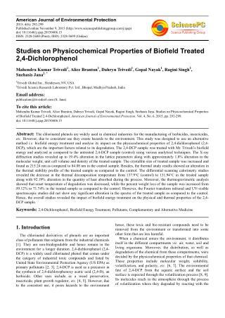 Physicochemical Properties of Biofield Treated 2,4-Dichlorophenol