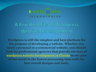 A few benefits of wrodpress website developement