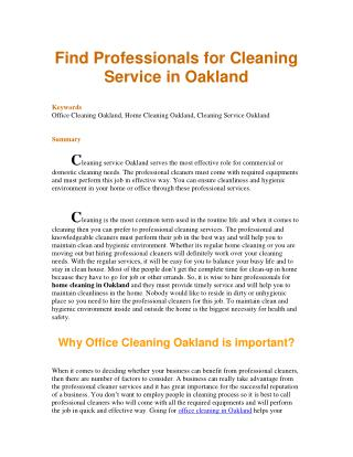 Find Professionals for Cleaning Service in Oakland