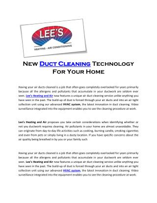 New Duct Cleaning Technology For Your Home