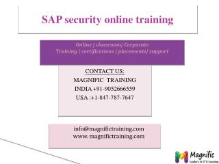 SAP SECURITY ONLINE TRAINING IN USA|UK|CANADA