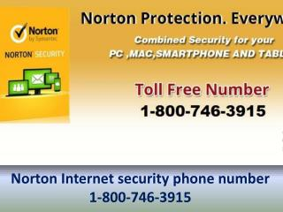 Symantec Internet Security @ 1-800-746-3915 Norton internet security phone number