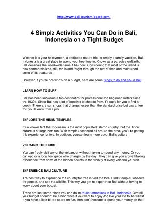 4 Simple Activities You Can Do In Bali, Indonesia