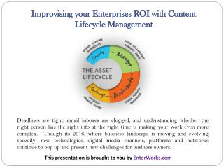 Improvising your Enterprises ROI with Content Lifecycle Management