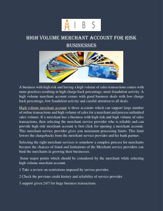 High Volume Merchant Account Services For Risk Businesses