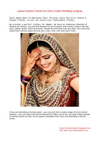 Latest Fashion Trends For Girls | Indian Wedding Lenghas