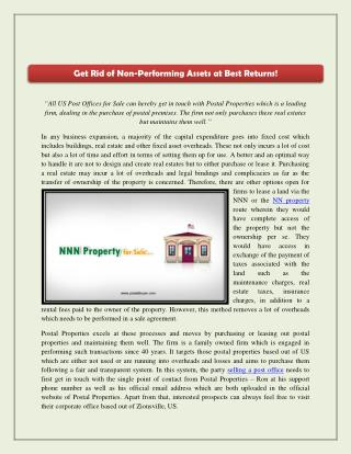 Get Rid of Non-Performing Assets at Best Returns!
