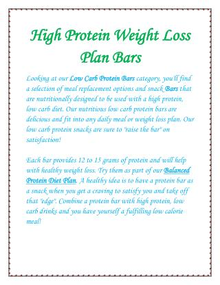 High Protein Weight Loss Plan Bars
