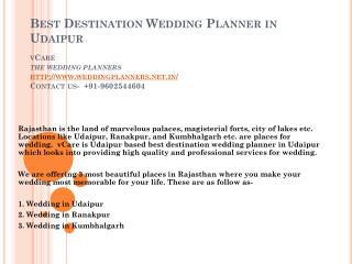 Best Destination Wedding Planner in Udaipur