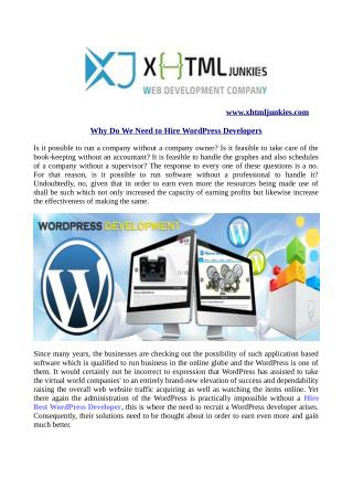 Why Do We Need to Hire WordPress Developers?
