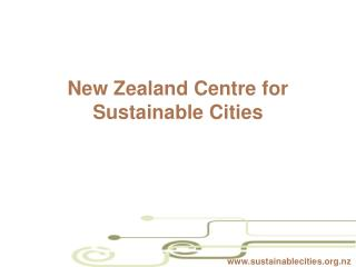 New Zealand Centre for Sustainable Cities