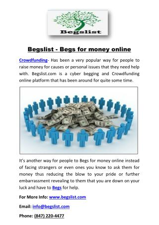 Begslist - Begs for money online