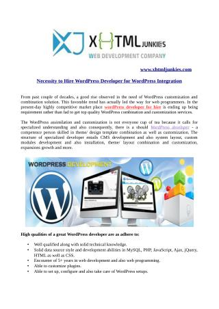 Necessity to Hire WordPress Developer for WordPress Integration