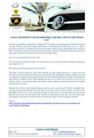 Luxury Auto Rental: Grab the Opportunity And Take a Drive in Your Dream Car!