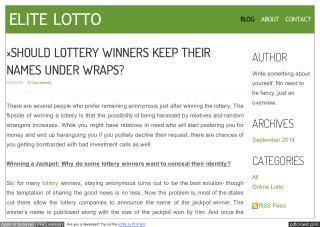 SHOULD LOTTERY WINNERS KEEP THEIR NAMES UNDER WRAPS?